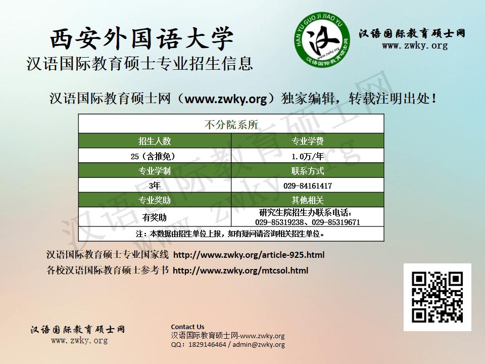 西安外国语大学汉语国际教育硕士专业招生信息